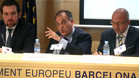 Javier Tebas, presidente de La Liga, en el acto en el que ha participado esta mañana en Barcelona