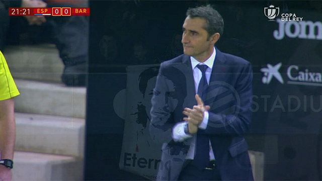 LACOPA | Espanyol - FC Barcelona (1-0): Valverde participó en el homenaje a Jarque