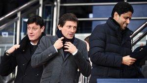Leonardo (centro), director deportivo del PSG