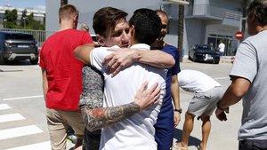 Messi y Pedro, en la despedida del canario