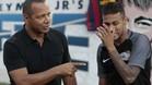 Neymar y su padre, en un acto promocional