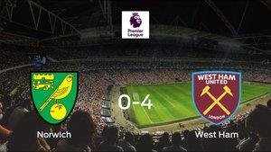 El West Ham se lleva los tres puntos a casa tras golear al Norwich City (0-4)