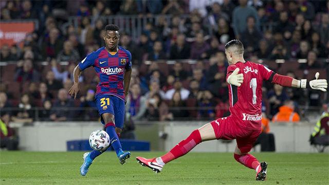 Ansu Fati estuvo cerca del gol