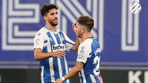 Dídac y Embarba durante un partido del Espanyol