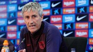 El entrenador del FC Barcelona Quique Setién