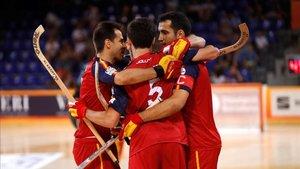 Epaña celebra uno de los goles ante Francia