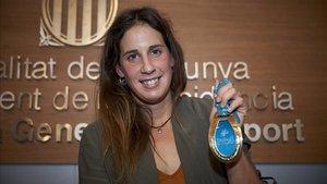 Erika Villaécija durante su despedida de la natación