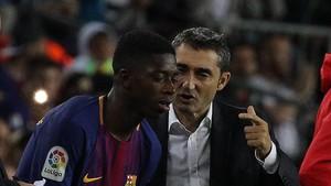 Ernesto Valverde está aleccionando a Dembélé