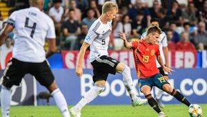 El exazulgrana Dani Olmo marcó el 2-0 de La Rojita ante Alemania