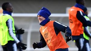 Griezmann, en un entrenamiento con la selección de Francia