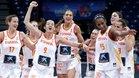Las jugadoras españolas celebran la victoria ante Rusia