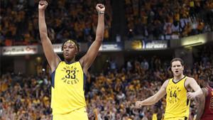 Los Pacers celebraron su triunfo tras una gran remontada