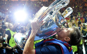 Messi lifts the Champions League earlier this year