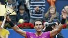 Nadal celebra la primera victoria de este año en el Open Banc Sabadell