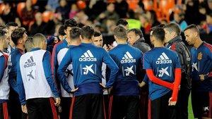 La selección de Luis Enrique se entrenó en Mestalla