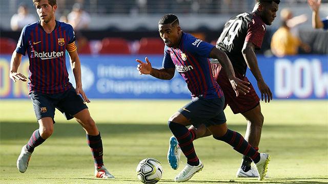 Solo el poste evitó que Malcom marcara de nuevo con el Barça