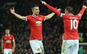 Van Persie y Rooney celebrando uno de los goles de hoy