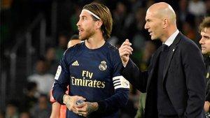 Zidane y Sergio Ramos, durante un partido este curso