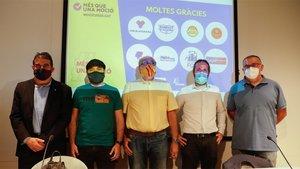 Algunos representantes de los grupos que impulsan la moción de censura