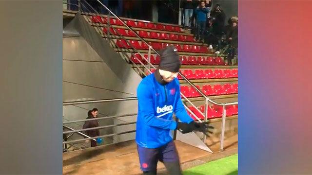 El Barça entrenó bajo la lluvia