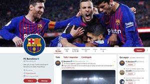 La cabecera de la cuenta de Twitter del FC Barcelona