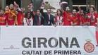El Girona celebró el ascenso y se acordó de Messi