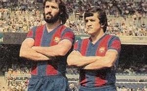 Juanjo, izquierda, junto con Zuviria en su época de jugador del Barça
