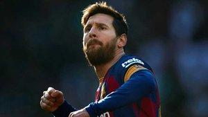 Leo Messi celebrando uno de los cuatro goles que anotó el 22 de febrero en el Camp Nou contra el Eibar (5-0)