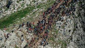 El mítico tramo de subida al Aizkorri desde el aire