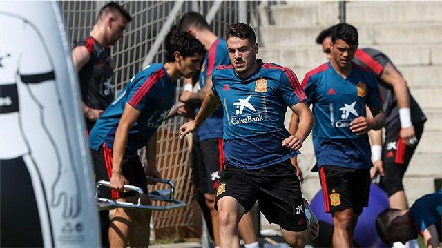El último entrenamiento de la selección española sub-21 en Bolonia