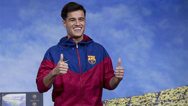 Coutinho posó por primera vez como jugador del Barça