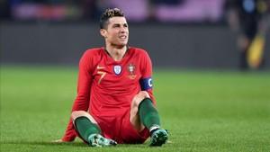 Cristiano Ronaldo, apesadumbrado durante el partido