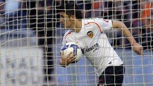 David Villa en su etapa de jugador en el Valencia