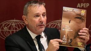 El director del Dakar, Etienne Lavigne, en la presentación de este miércoles en Lima