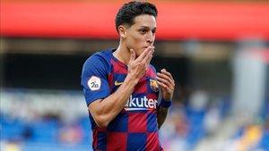 Kike Saverio celebra el gol marcado el pasado sábado al Orihuela, el segundo esta temporada