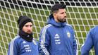 Leo Messi y Sergio Agüero en un entrenamiento de Argentina