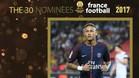 Neymar es uno de los nominados al Balón de Oro 2017