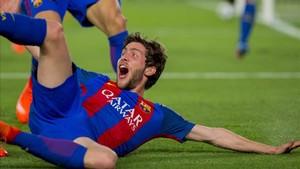 Sergi Roberto, celebrando el gol de la remontada