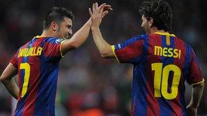 Villa y Messi celebraron juntos la Champions ganada en Wembley en 2011