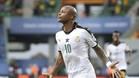 Ayew celebra el gol con el que Ghana derrotó a Uganda