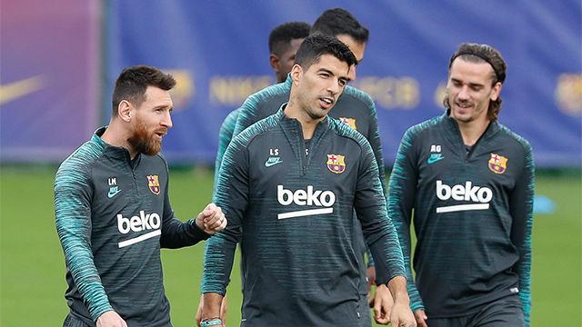 El Barça se entrena antes de su cita contra el Slavia de Praga