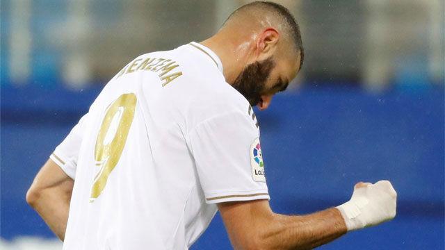 Benzema abrió la lata ante el Eibar con un buen disparo cruzado