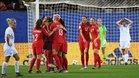Canadá celebra uno de sus goles ante Nueva Zelanda