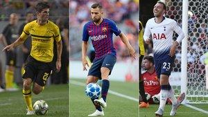Christian Pulisic (Dortmund), Jordi Alba (Barça) y Christian Erikssen (Tottenham)