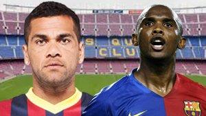 Dani Alves y Samuel Etoo, ex futbolistas del Barça