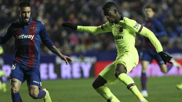 Dembélé fue el 9 del Barça ante el Levante
