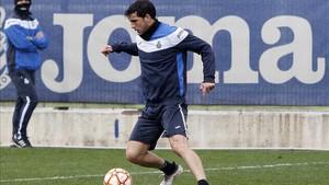 Javi López, durante un entrenamiento de la pasada campaña.