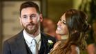 Leo Messi y Antonela Rocuzzo en un momento de su boda en Rosario (Argentina)