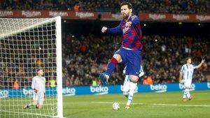 Leo Messi celebra su gol en el Barça-Real Sociedad de la Liga 2019/20