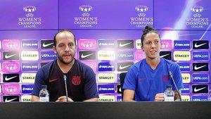 Lluís Cortés y Jenni Hermoso hablaron del estreno europeo del Barça ante la Juventus